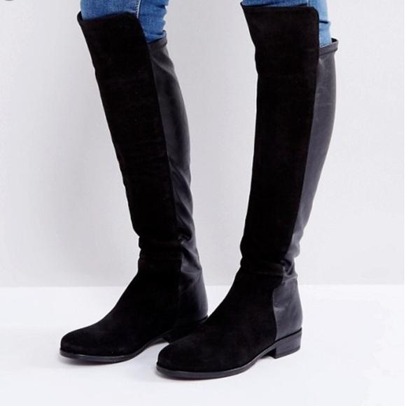 Nib Dune Otk Black Suede Stretch Boots